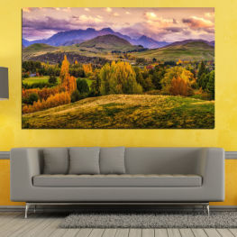 Landscape, Forest, Mountain, Autumn » Green, Brown, Gray, Beige