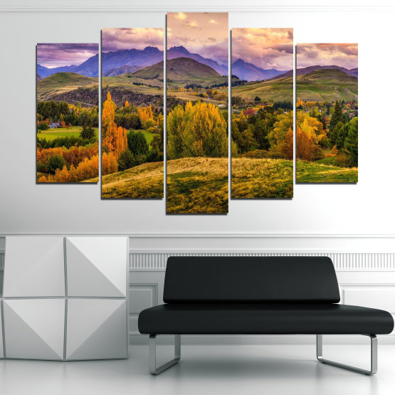 Canvas prints & wall decorative panels - 5 pieces №0756 » Green, Brown, Gray, Beige » Landscape, Forest, Mountain, Autumn Form #1