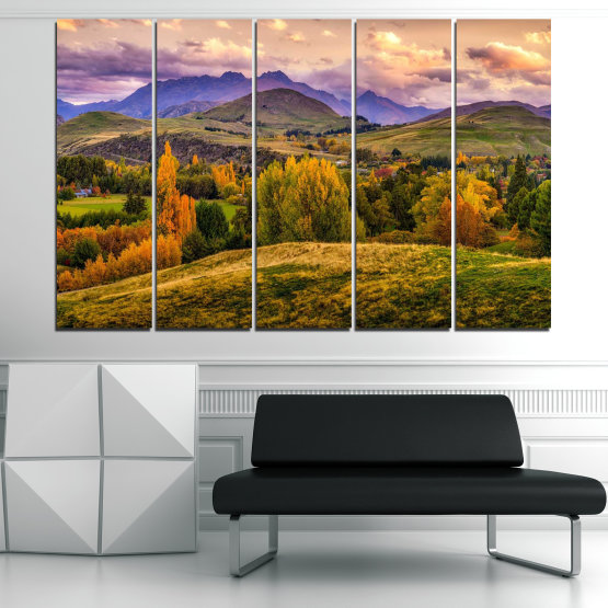Canvas prints & wall decorative panels - 5 pieces №0756 » Green, Brown, Gray, Beige » Landscape, Forest, Mountain, Autumn Form #2