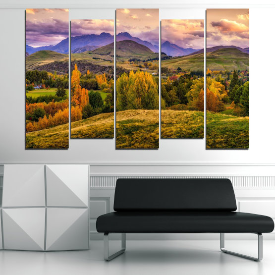 Canvas prints & wall decorative panels - 5 pieces №0756 » Green, Brown, Gray, Beige » Landscape, Forest, Mountain, Autumn Form #3