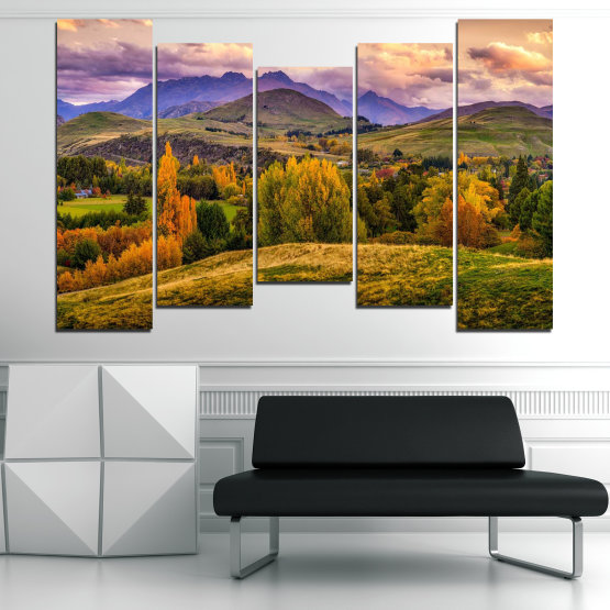 Canvas prints & wall decorative panels - 5 pieces №0756 » Green, Brown, Gray, Beige » Landscape, Forest, Mountain, Autumn Form #4