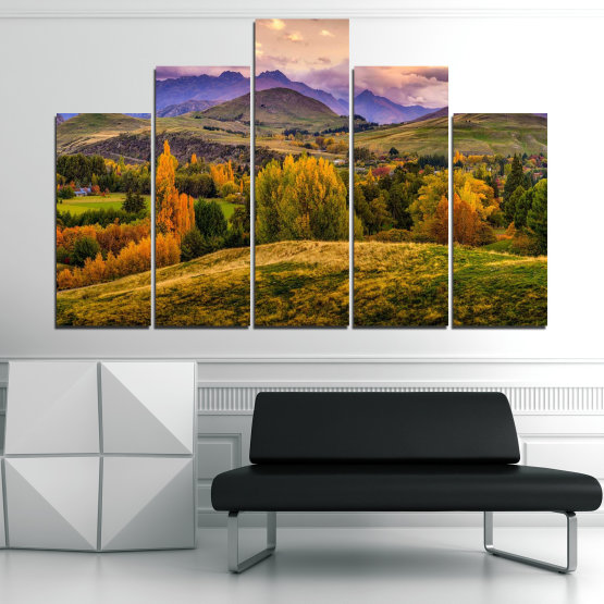 Canvas prints & wall decorative panels - 5 pieces №0756 » Green, Brown, Gray, Beige » Landscape, Forest, Mountain, Autumn Form #5