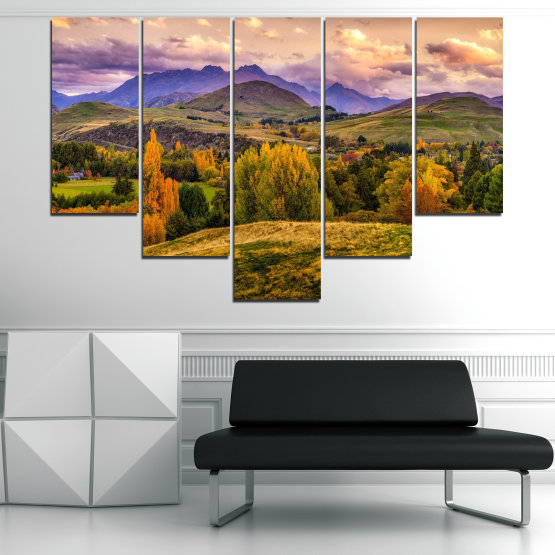 Canvas prints & wall decorative panels - 5 pieces №0756 » Green, Brown, Gray, Beige » Landscape, Forest, Mountain, Autumn Form #6