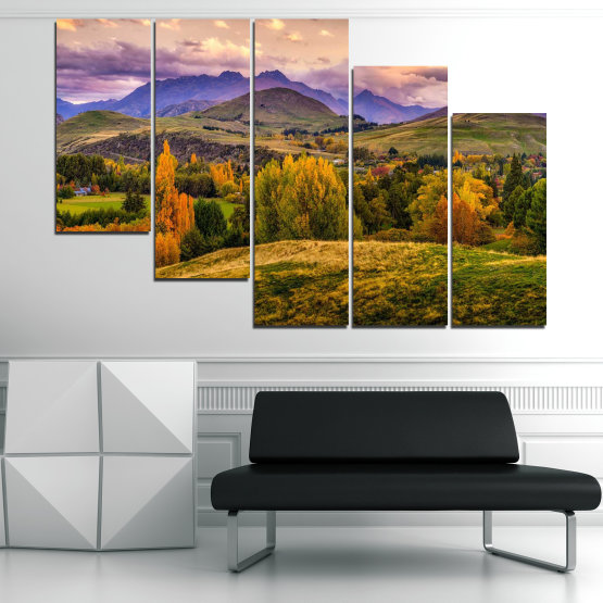 Canvas prints & wall decorative panels - 5 pieces №0756 » Green, Brown, Gray, Beige » Landscape, Forest, Mountain, Autumn Form #7
