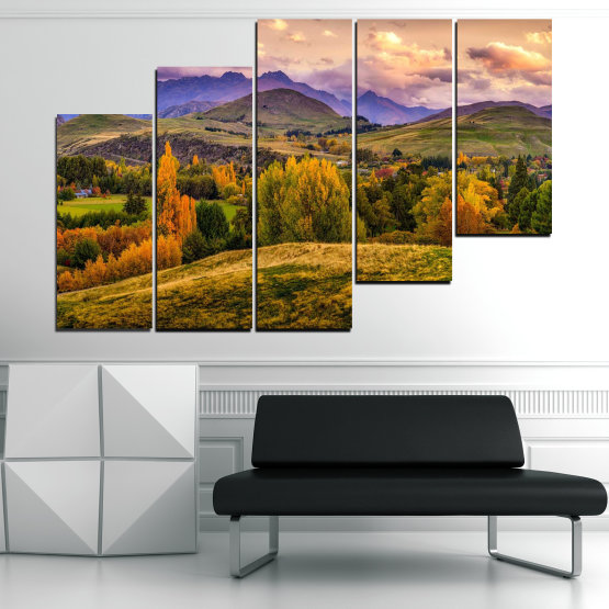 Canvas prints & wall decorative panels - 5 pieces №0756 » Green, Brown, Gray, Beige » Landscape, Forest, Mountain, Autumn Form #8
