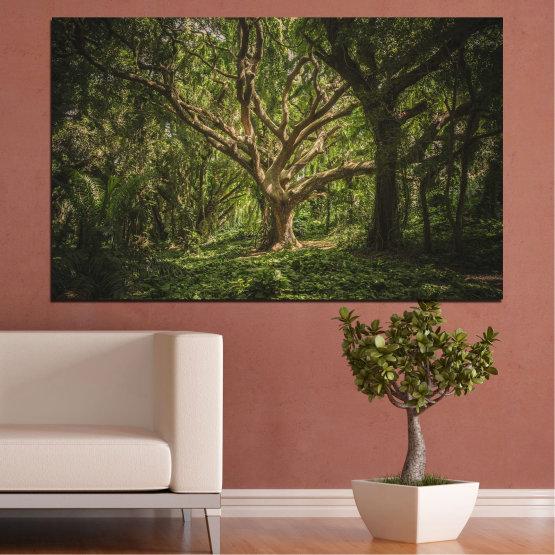Декоративни панели и картини от канава - от 1 част №0757 » Зелен, Кафяв, Черен, Тъмно сив » Гора, Дърво, Живот Form #1