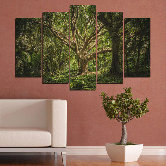 Canvas prints & wall decorative panels - 5 pieces №0757 » Green, Brown, Black, Dark grey » Forest, Tree, Life Form #1