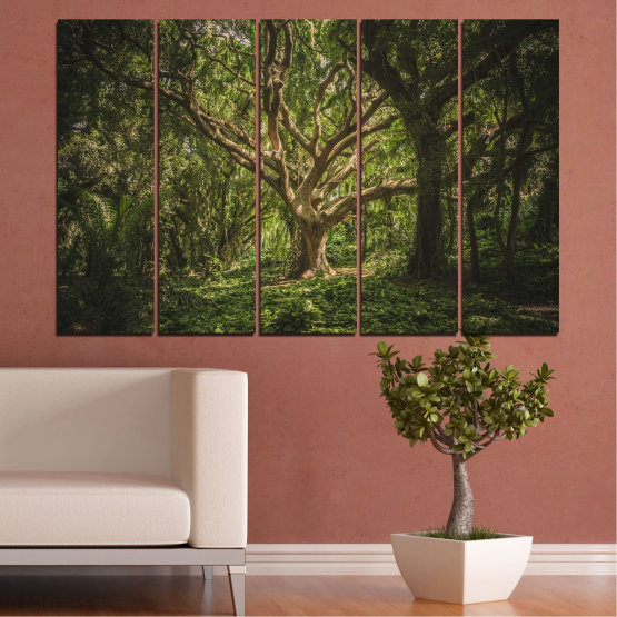 Canvas prints & wall decorative panels - 5 pieces №0757 » Green, Brown, Black, Dark grey » Forest, Tree, Life Form #2