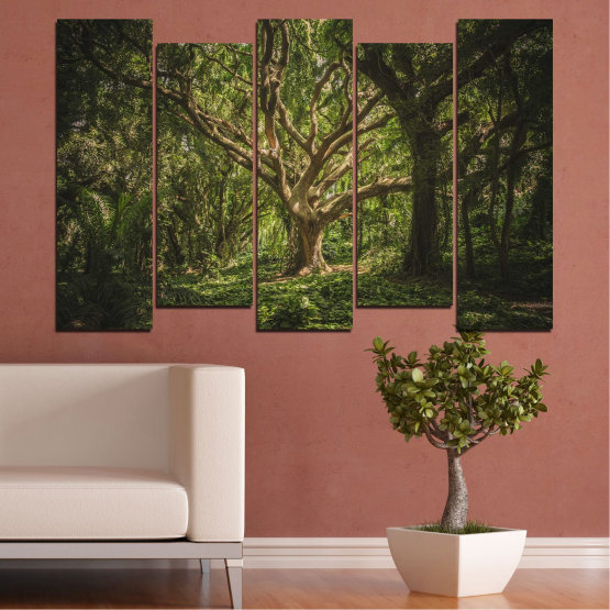 Canvas prints & wall decorative panels - 5 pieces №0757 » Green, Brown, Black, Dark grey » Forest, Tree, Life Form #3