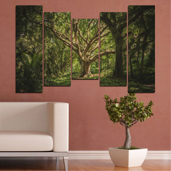 Canvas prints & wall decorative panels - 5 pieces №0757 » Green, Brown, Black, Dark grey » Forest, Tree, Life Form #4