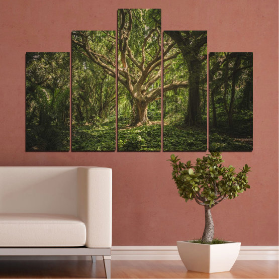 Canvas prints & wall decorative panels - 5 pieces №0757 » Green, Brown, Black, Dark grey » Forest, Tree, Life Form #5