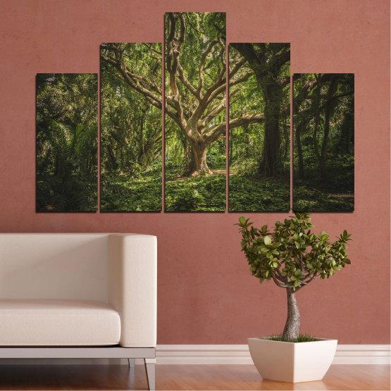 Декоративни панели и картини от канава - от 5 части №0757 » Зелен, Кафяв, Черен, Тъмно сив » Гора, Дърво, Живот Form #5