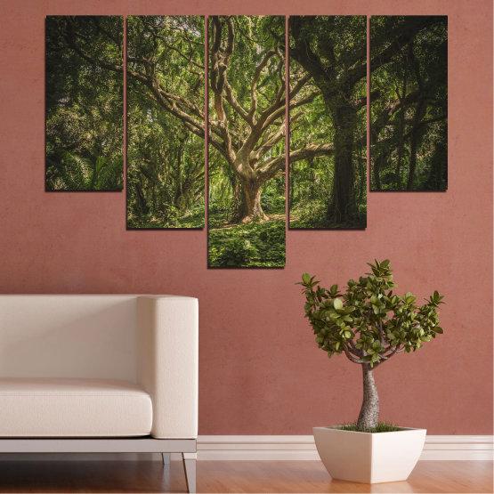 Декоративни панели и картини от канава - от 5 части №0757 » Зелен, Кафяв, Черен, Тъмно сив » Гора, Дърво, Живот Form #6