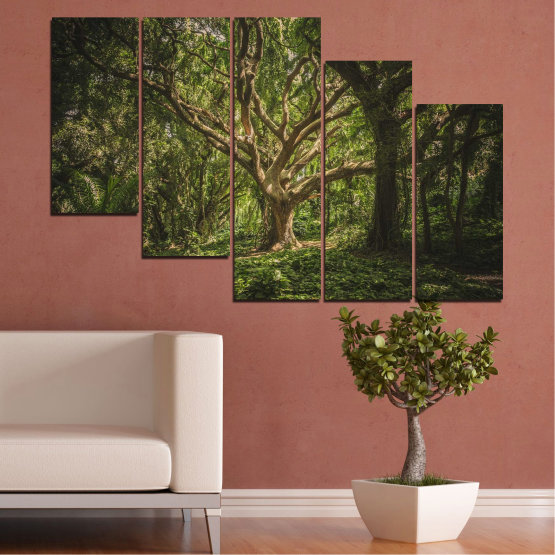 Canvas prints & wall decorative panels - 5 pieces №0757 » Green, Brown, Black, Dark grey » Forest, Tree, Life Form #7