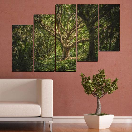 Декоративни панели и картини от канава - от 5 части №0757 » Зелен, Кафяв, Черен, Тъмно сив » Гора, Дърво, Живот Form #8