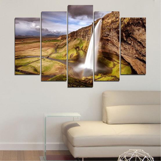 Декоративни панели и картини от канава - от 5 части №0758 » Кафяв, Черен, Сив, Тъмно сив » Пейзаж, Водопад, Планина, Долина Form #1