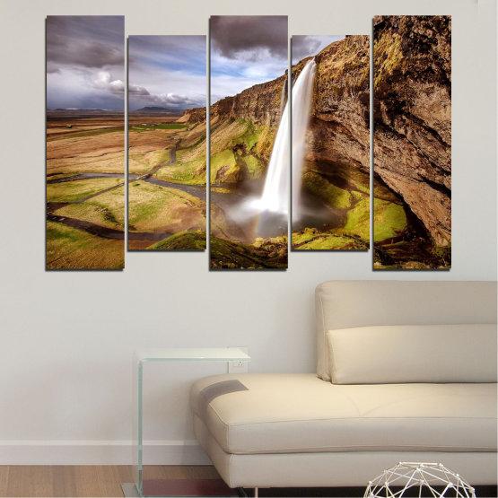 Декоративни панели и картини от канава - от 5 части №0758 » Кафяв, Черен, Сив, Тъмно сив » Пейзаж, Водопад, Планина, Долина Form #3