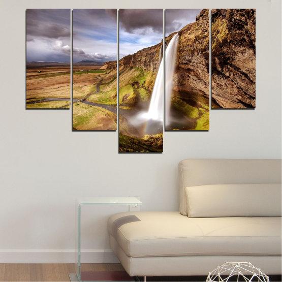 Декоративни панели и картини от канава - от 5 части №0758 » Кафяв, Черен, Сив, Тъмно сив » Пейзаж, Водопад, Планина, Долина Form #6