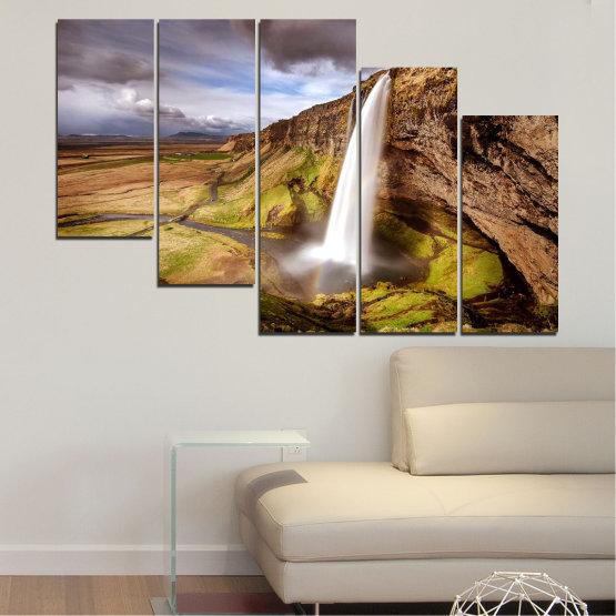 Декоративни панели и картини от канава - от 5 части №0758 » Кафяв, Черен, Сив, Тъмно сив » Пейзаж, Водопад, Планина, Долина Form #7