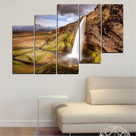 Декоративни панели и картини от канава - от 5 части №0758 » Кафяв, Черен, Сив, Тъмно сив » Пейзаж, Водопад, Планина, Долина Form #8