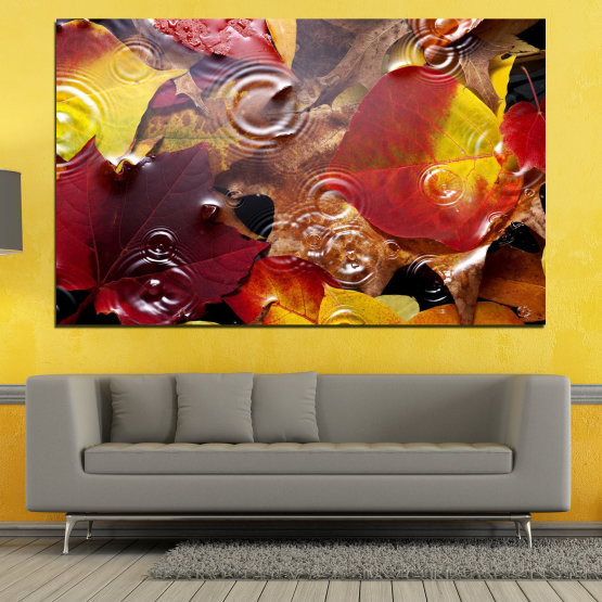Canvas prints & wall decorative panels - 1 piece №0759 » Red, Yellow, Brown, Black, Dark grey » Forest, Autumn, Leaf, Leaves Form #1