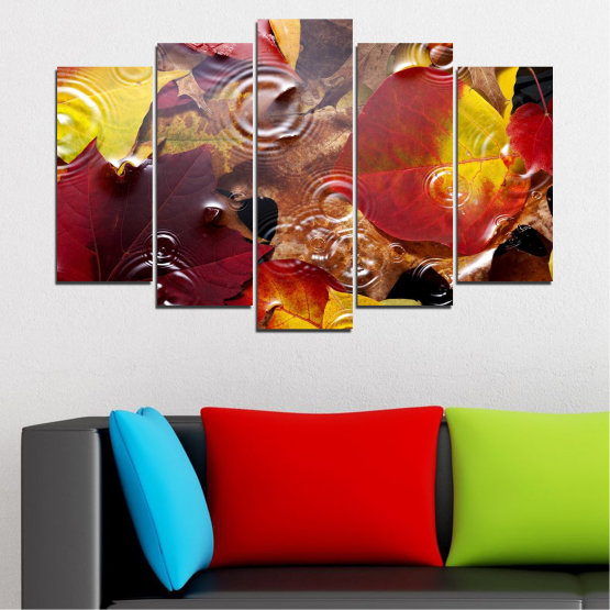 Canvas prints & wall decorative panels - 5 pieces №0759 » Red, Yellow, Brown, Black, Dark grey » Forest, Autumn, Leaf, Leaves Form #1