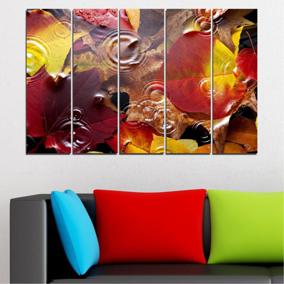 Canvas prints & wall decorative panels - 5 pieces №0759 » Red, Yellow, Brown, Black, Dark grey » Forest, Autumn, Leaf, Leaves Form #2