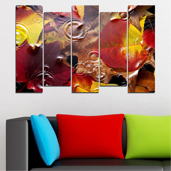 Canvas prints & wall decorative panels - 5 pieces №0759 » Red, Yellow, Brown, Black, Dark grey » Forest, Autumn, Leaf, Leaves Form #3