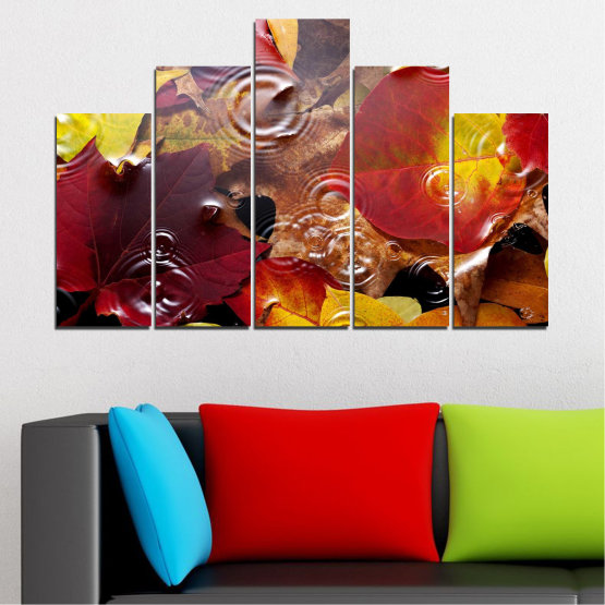 Canvas prints & wall decorative panels - 5 pieces №0759 » Red, Yellow, Brown, Black, Dark grey » Forest, Autumn, Leaf, Leaves Form #5