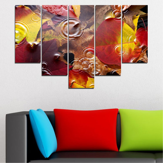 Canvas prints & wall decorative panels - 5 pieces №0759 » Red, Yellow, Brown, Black, Dark grey » Forest, Autumn, Leaf, Leaves Form #6