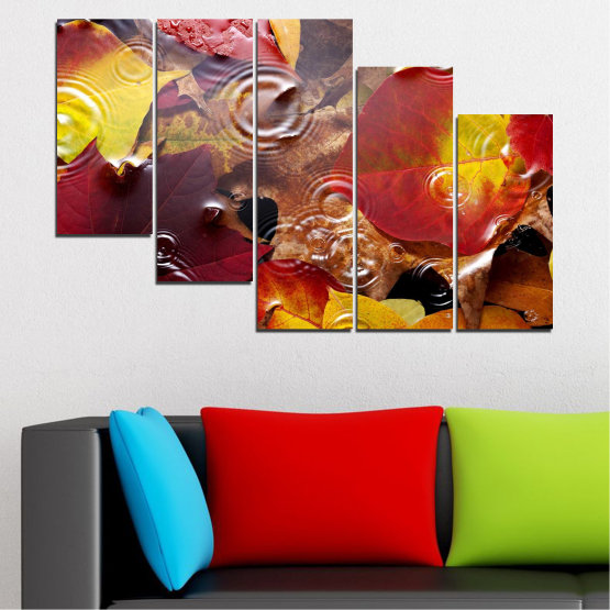 Canvas prints & wall decorative panels - 5 pieces №0759 » Red, Yellow, Brown, Black, Dark grey » Forest, Autumn, Leaf, Leaves Form #7