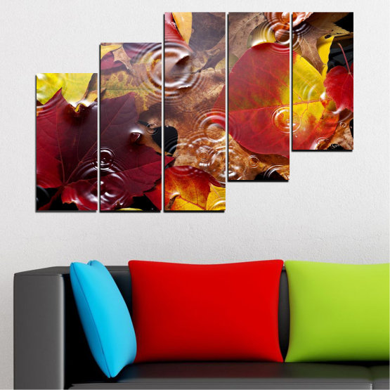 Canvas prints & wall decorative panels - 5 pieces №0759 » Red, Yellow, Brown, Black, Dark grey » Forest, Autumn, Leaf, Leaves Form #8