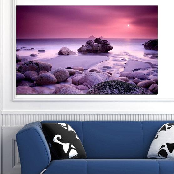 Декоративни панели и картини от канава - от 1 част №0760 » Розов, Лилав, Сив, Тъмно сив » Море, Вода, Океан, Камък Form #1