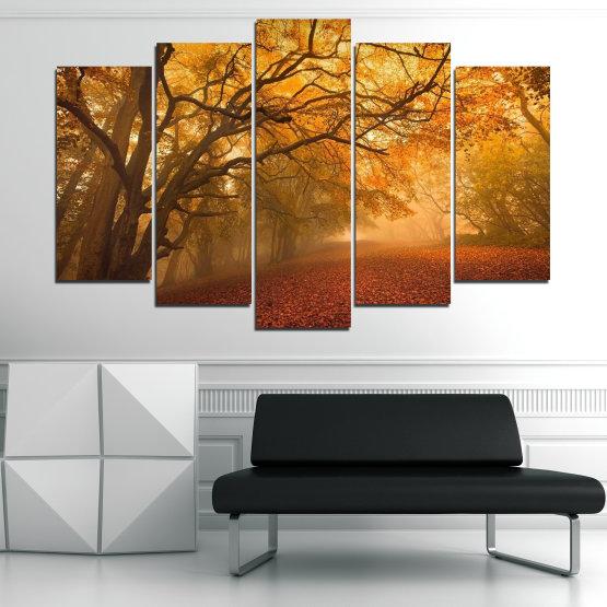Декоративни панели и картини от канава - от 5 части №0761 » Червен, Жълт, Оранжев, Кафяв » Пейзаж, Дърво, Есен, Листо, Листа, Парк Form #1