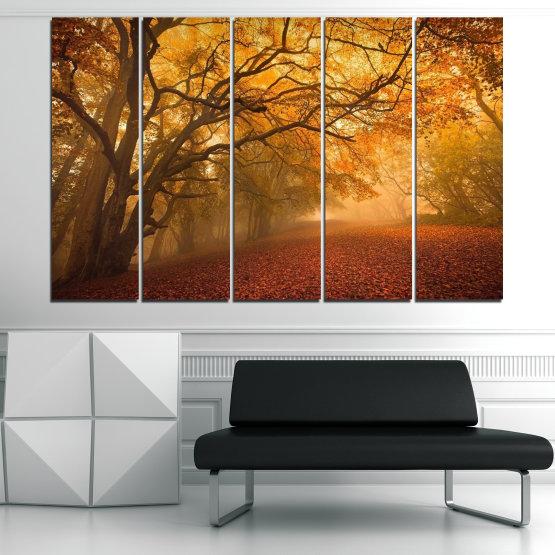 Декоративни панели и картини от канава - от 5 части №0761 » Червен, Жълт, Оранжев, Кафяв » Пейзаж, Дърво, Есен, Листо, Листа, Парк Form #2