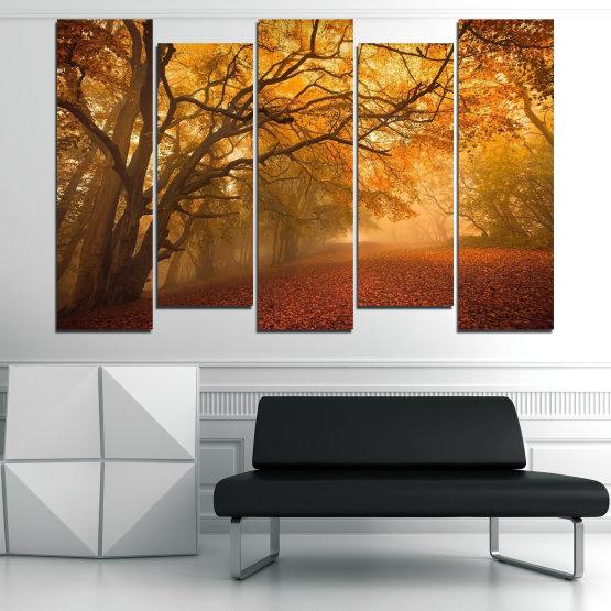 Декоративни панели и картини от канава - от 5 части №0761 » Червен, Жълт, Оранжев, Кафяв » Пейзаж, Дърво, Есен, Листо, Листа, Парк Form #3
