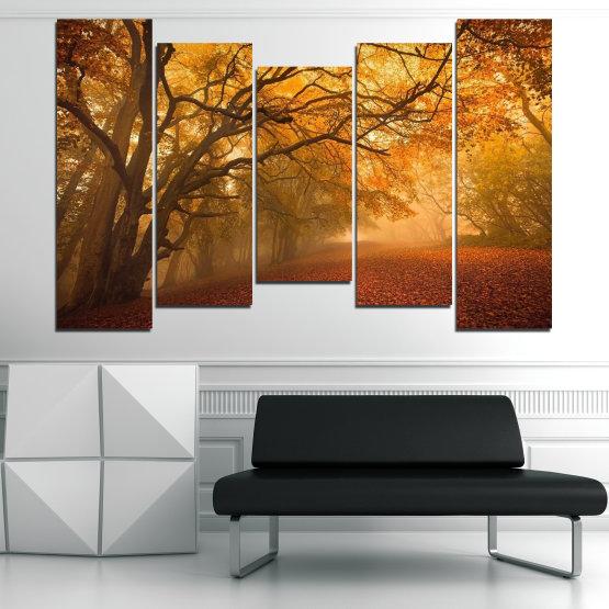 Декоративни панели и картини от канава - от 5 части №0761 » Червен, Жълт, Оранжев, Кафяв » Пейзаж, Дърво, Есен, Листо, Листа, Парк Form #4