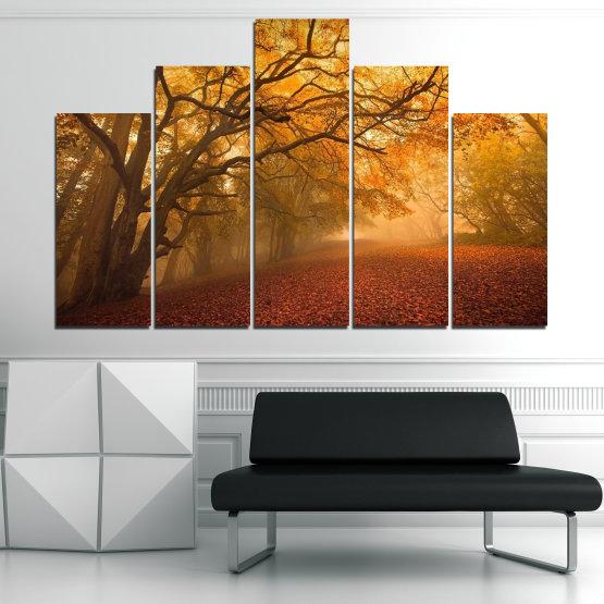 Декоративни панели и картини от канава - от 5 части №0761 » Червен, Жълт, Оранжев, Кафяв » Пейзаж, Дърво, Есен, Листо, Листа, Парк Form #5