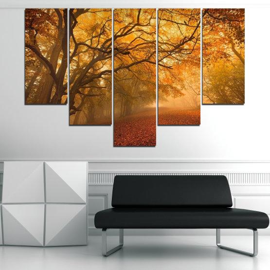 Декоративни панели и картини от канава - от 5 части №0761 » Червен, Жълт, Оранжев, Кафяв » Пейзаж, Дърво, Есен, Листо, Листа, Парк Form #6
