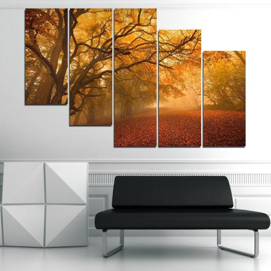 Декоративни панели и картини от канава - от 5 части №0761 » Червен, Жълт, Оранжев, Кафяв » Пейзаж, Дърво, Есен, Листо, Листа, Парк Form #7