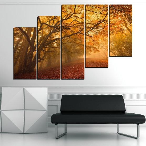 Декоративни панели и картини от канава - от 5 части №0761 » Червен, Жълт, Оранжев, Кафяв » Пейзаж, Дърво, Есен, Листо, Листа, Парк Form #8