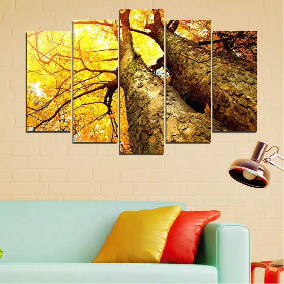 Canvas prints & wall decorative panels - 5 pieces №0762 » Yellow, Brown, Black, Beige » Forest, Tree, Autumn, Leaf, Trees, Leaves, Park Form #1