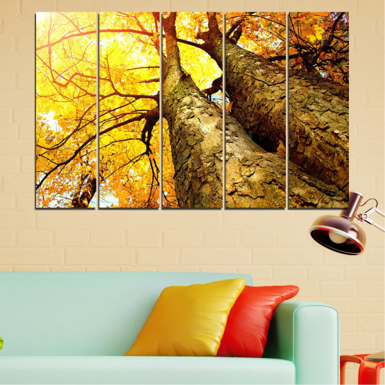Canvas prints & wall decorative panels - 5 pieces №0762 » Yellow, Brown, Black, Beige » Forest, Tree, Trees, Autumn, Leaf, Leaves, Park Form #2