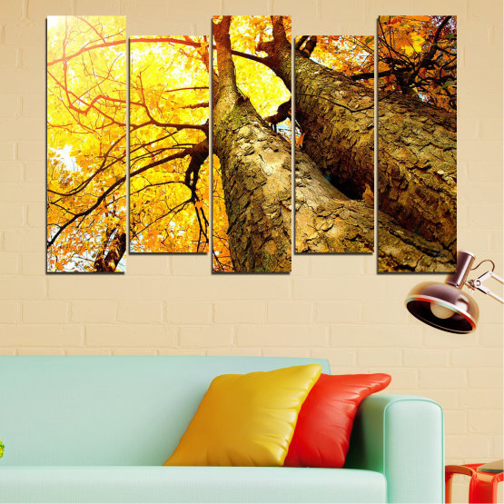 Canvas prints & wall decorative panels - 5 pieces №0762 » Yellow, Brown, Black, Beige » Forest, Tree, Trees, Autumn, Leaf, Leaves, Park Form #3