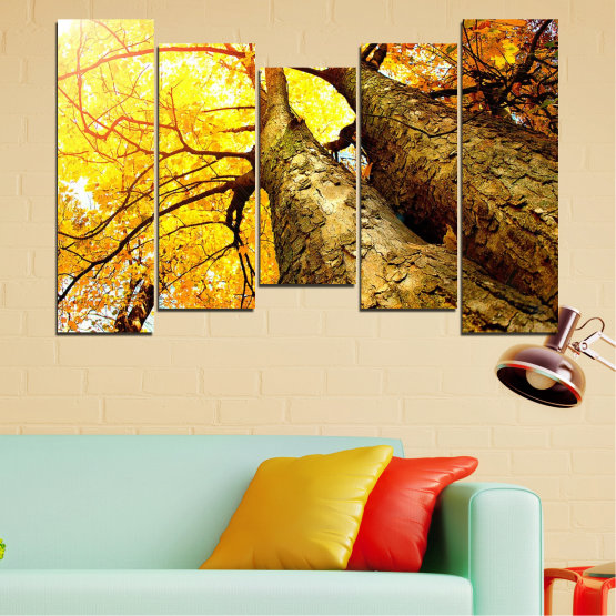 Canvas prints & wall decorative panels - 5 pieces №0762 » Yellow, Brown, Black, Beige » Forest, Tree, Trees, Autumn, Leaf, Leaves, Park Form #4