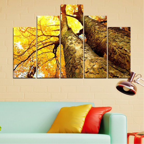 Canvas prints & wall decorative panels - 5 pieces №0762 » Yellow, Brown, Black, Beige » Forest, Tree, Trees, Autumn, Leaf, Leaves, Park Form #5