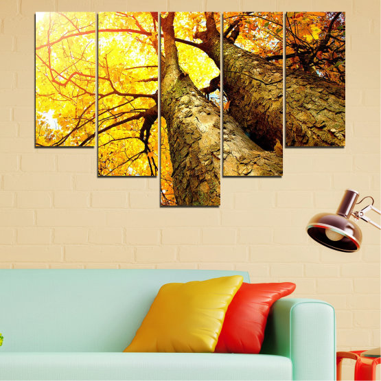 Canvas prints & wall decorative panels - 5 pieces №0762 » Yellow, Brown, Black, Beige » Forest, Tree, Trees, Autumn, Leaf, Leaves, Park Form #6