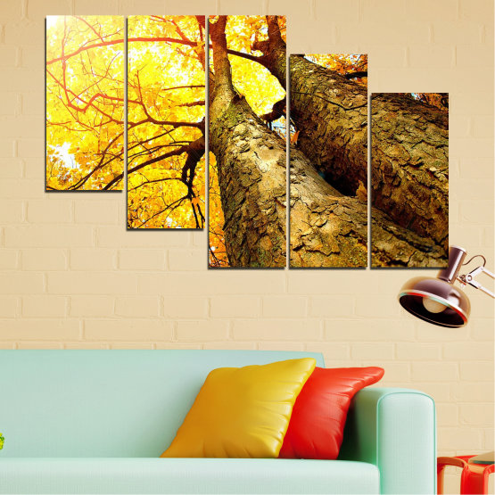 Canvas prints & wall decorative panels - 5 pieces №0762 » Yellow, Brown, Black, Beige » Forest, Tree, Trees, Autumn, Leaf, Leaves, Park Form #7