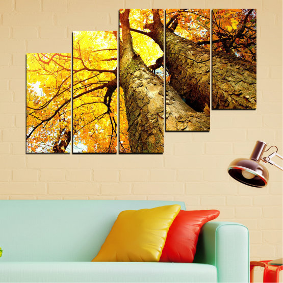 Canvas prints & wall decorative panels - 5 pieces №0762 » Yellow, Brown, Black, Beige » Forest, Tree, Autumn, Leaf, Trees, Leaves, Park Form #8