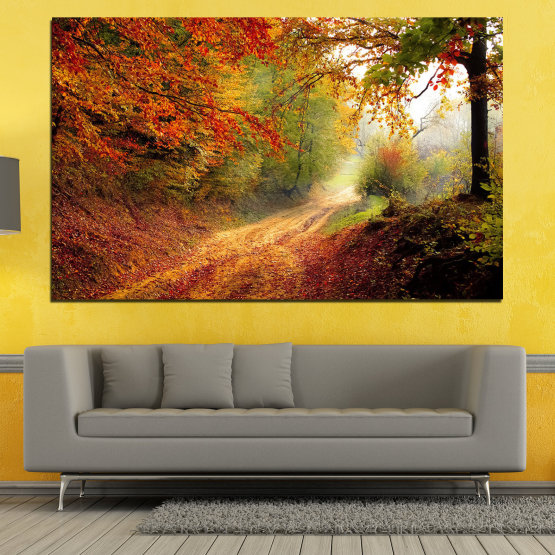 Canvas prints & wall decorative panels - 1 piece №0764 » Red, Orange, Brown, Black » Forest, Tree, Autumn, Colorful, Leaves, Road, Park Form #1